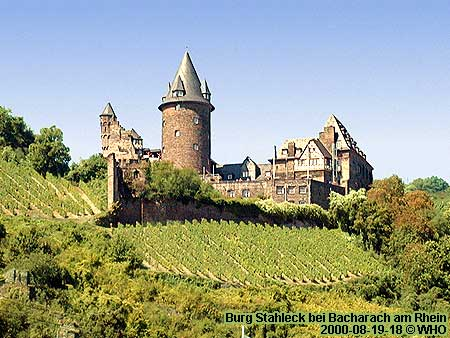 Rhine River Castle Stahleck high above Bacharach Rhine Germany.